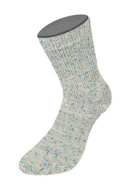 Lana Grossa Rústico Sock Yarn - Light Grey Rainbow 3811