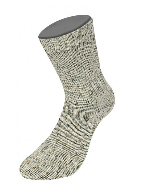 Lana Grossa Rústico Sock Yarn - Light Grey with dark mots 3812