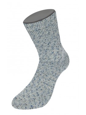 Lana Grossa Rústico Sock Yarn - Light Grey with blue mots 3803