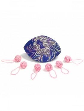 Hiya Hiya - Set marcapuntos ovillo rosa con estuche