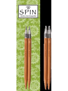 """Chiaogoo - Agujas Spin 4"""" (10cms) ó 5""""(12cms) - Agujas circulares **Bamboo** intercambiables"""