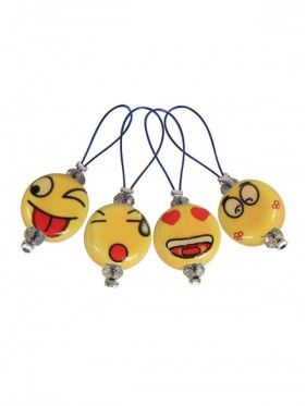 Knit Pro - Stitchmarkers Playfull beads Smiley with pouch