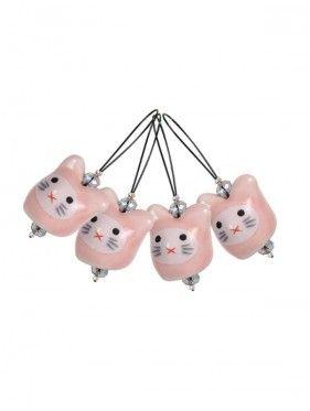 Knit Pro - Marcapuntos Playfull beads Meow con mini estuche
